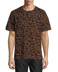 Ovadia And Sons Leopard Jacquard Wool T Shirt Camel Black