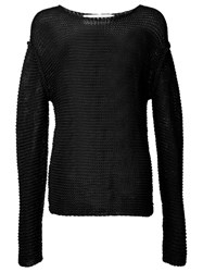 Isabel Benenato Open Knit Off Shoulder Jumper Black