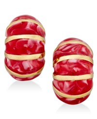 Erwin Pearl Atelier For Charter Club Gold Tone Striped Enamel Huggie Earrings Only At Macy's Red Gold