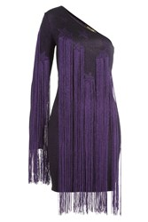 Roberto Cavalli Asymmetric Dress With Fringing Multicolor