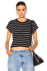 Re Done Stripe Boxy Tee In Black White Stripes Black White Stripes