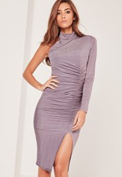 Missguided Purple One Shoulder Ruched Slinky Midi Dress Mauve