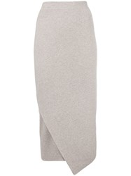 Allude Asymmetric Knit Pencil Skirt Nude And Neutrals