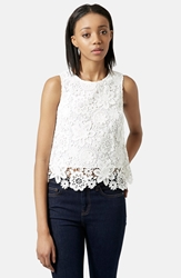 Topshop Floral Crochet Shell Top White