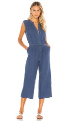 Krisa Button Front Cropped Jumpsuit In Blue. Stream