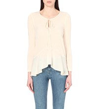 French Connection Polly Plains Ruffled Chiffon Top Classic Cream