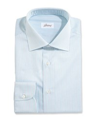 Brioni Fine Stripe Dress Shirt White Aqua Gray