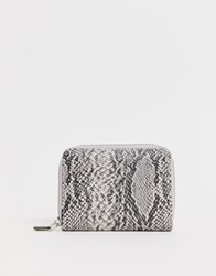 French Connection Snakeskin Zip Purse Grey