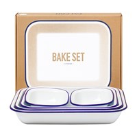 Falcon Bake Set White With Blue Rim