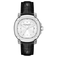 Burberry Bby1206 Men's Britain Automatic Date Leather Strap Watch Black Silver