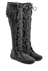 Minnetonka Fringed Suede Knee Boots With Lace Up Front Gr. 7