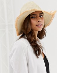 French Connection Straw Panama Style Hat Brown