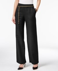 Jm Collection Petite Linen Blend Pull On Pants With Chain Belt Only At Macy's Deep Black