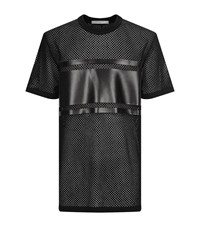 Givenchy Mesh Leather Patch T Shirt Male Black