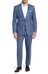 Boss Huge Genius Trim Fit Windowpane Wool Suit Blue