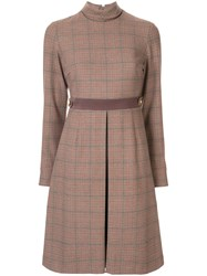 Loveless Check Pattern Dress Brown