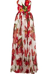 Dolce And Gabbana Floral Print Silk Blend Matelasse And Chiffon Gown Red