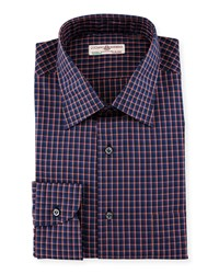 Luciano Barbera Lightweight Check Woven Shirt Red Navy