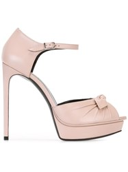 Saint Laurent Jane Bow Sandals Pink Purple