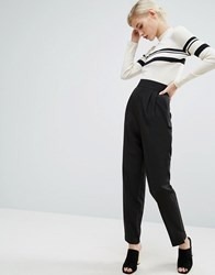 Asos High Waist Tapered Trousers Black