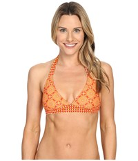 Prana Lahari Halter Top Neon Orange Sundial Women's Swimwear Yellow