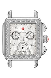Michele Women's 'Deco Diamond' Diamond Dial Watch Case 33Mm X 35Mm Silver