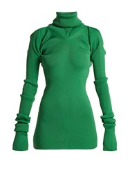 Marni Ribbed Knit Roll Neck Sweater Green