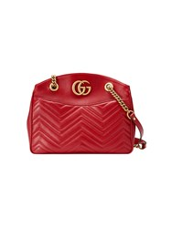 Gucci Gg Marmont Matelasse Tote Women Leather Gold Tone Alloy Microfibre One Size Red