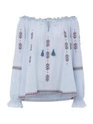 Suncoo Leisa Embroidered Blouse Blue