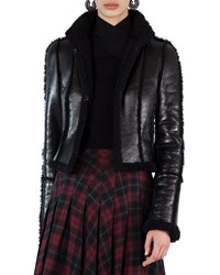 Akris Punto Shearling Lined Open Front Jacket Black