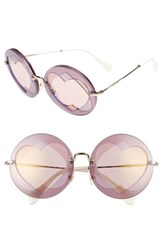 Miu Miu Women's 62Mm Heart Inset Round Sunglasses