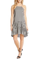 Karen Kane Gingham Ruffle Hem Halter Top Dress Check