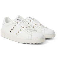 Valentino Rockstud Untitled Leather Sneakers White