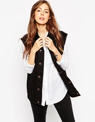 Asos Denim Girlfriend Gilet In Black With Contrast Stitch
