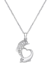 Macy's Diamond Dolphin Heart Pendant Necklace 1 10 Ct. T.W. In Sterling Silver