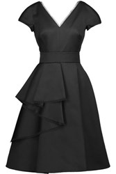 Jason Wu Ruffled Cotton Blend And Silk Satin Dress Black