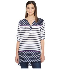 Hatley Cotton Taped Tunic Navy Stripes Faded Out Chevron Women's Clothing Multi