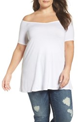 Three Dots Plus Size Women's Off The Shoulder Swing Tee White