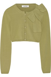 Valentino Cropped Cotton Blend Cardigan Green