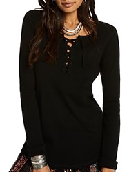 Scotch And Soda Lace Up Ribbed Jersey Top Black