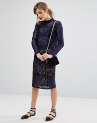 Fashion Union Lace And Ladder Pencil Skirt Co Ord Navy