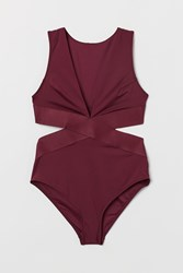 Handm H M Cut Out Swimsuit Red