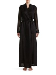 La Perla Jazz Time Cotton And Silk Long Night Robe White Black