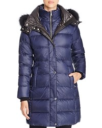 Andrew Marc New York Skylar Fox Fur Trim Long Down Coat Navy