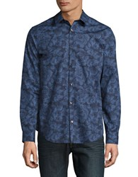 Calvin Klein Pixilated Floral Printed Shirt Open Water