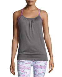 Soybu Ruched Neck Racerback Tank Pink Halftone