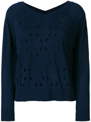 Zanone Perforated Knit Top Blue