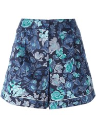 Burberry Floral Print Shorts Blue