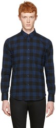 Naked And Famous Denim Blue Check Regular Shirt