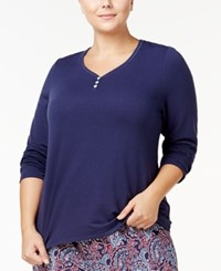 Nautica Plus Size Double Knit Pajama Top Eclipse